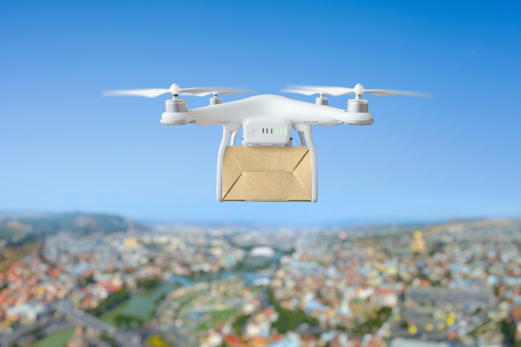 Drone delivery in flight